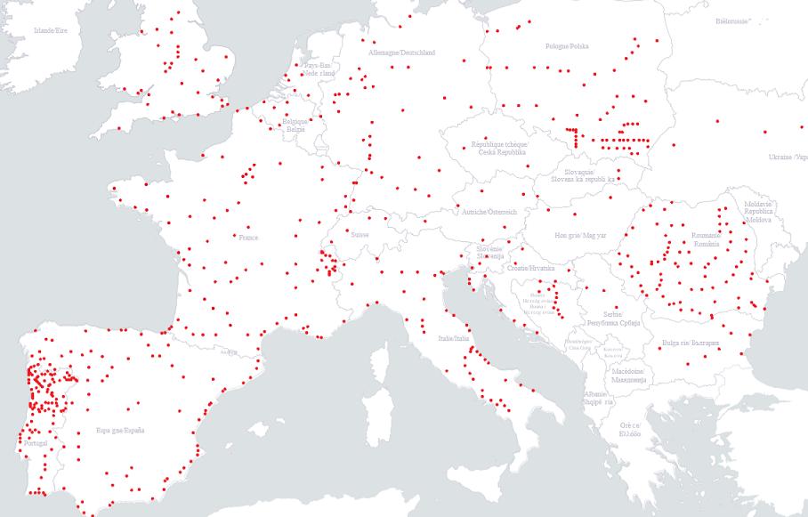 Карта маршрутов лоукост автобуса Европы